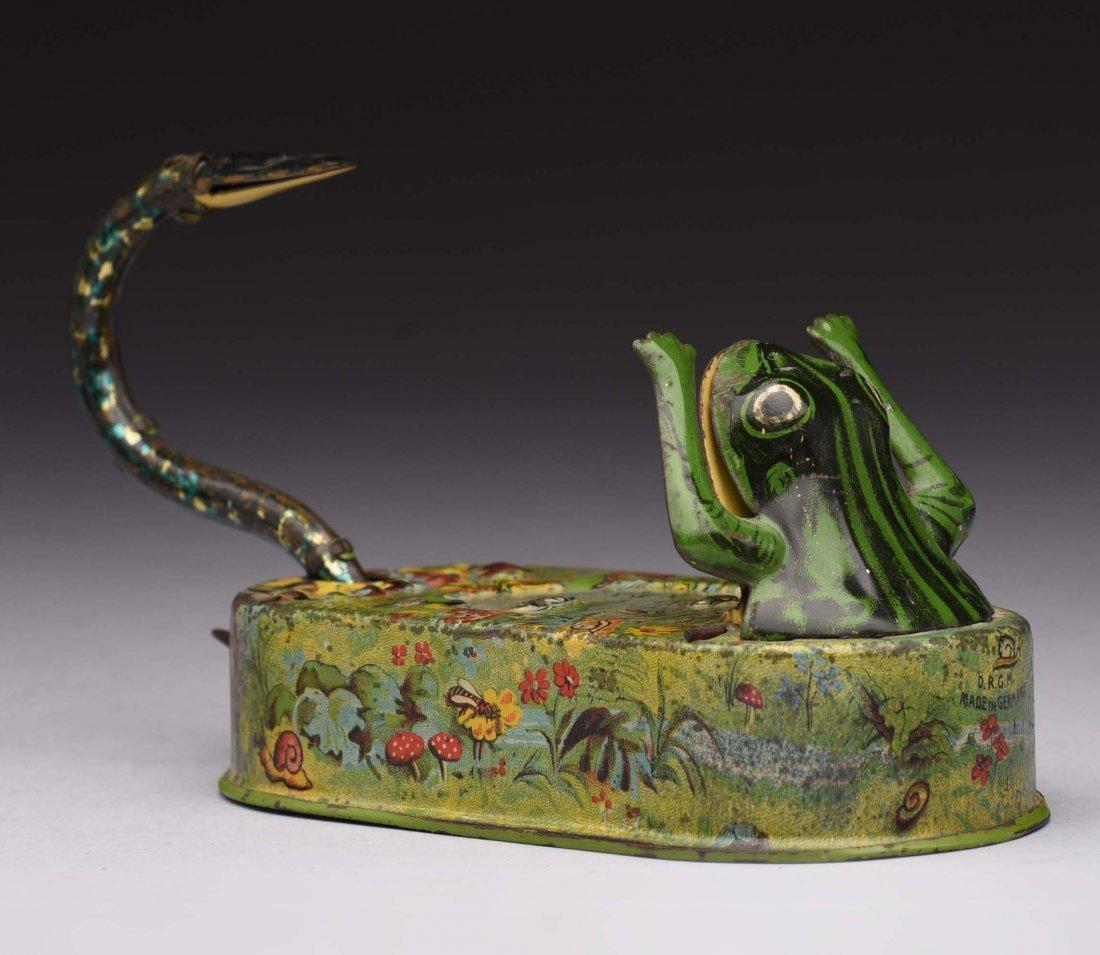 Tin Snake & Frog In Pond Mechanical Bank.
