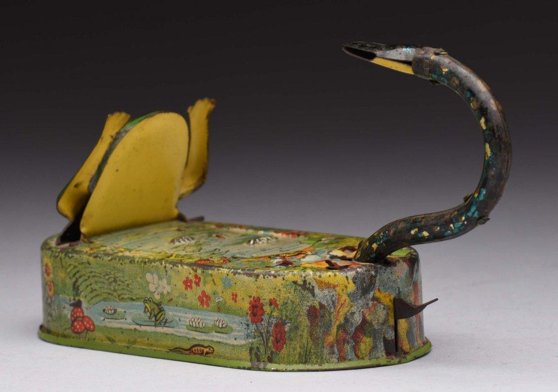 Tin Snake & Frog In Pond Mechanical Bank. - 2