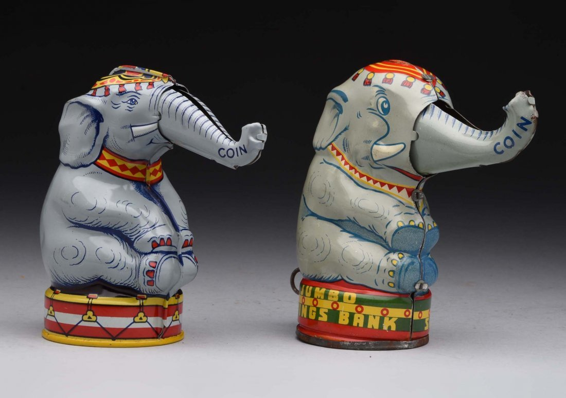 Lot of 2: Tin Elephant Mechanical Banks.