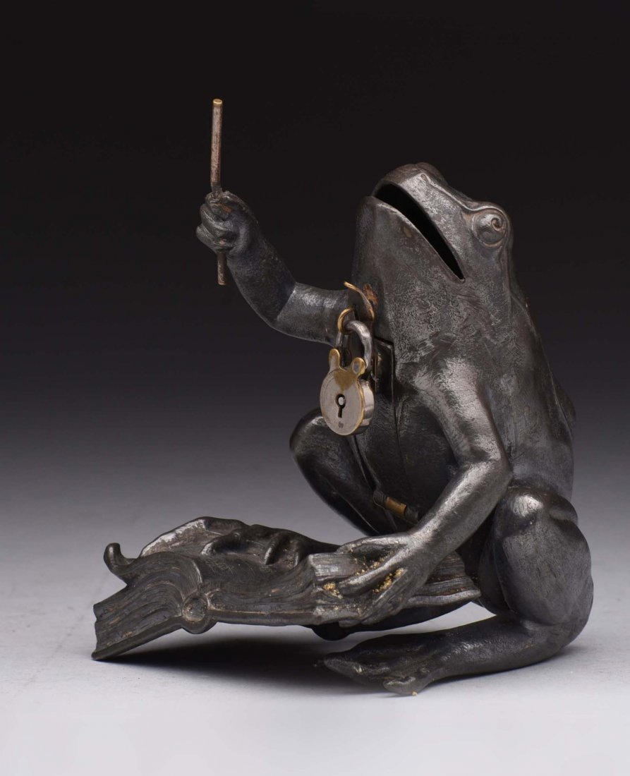 Spelter Frog Conducting Orchestra Still Bank.