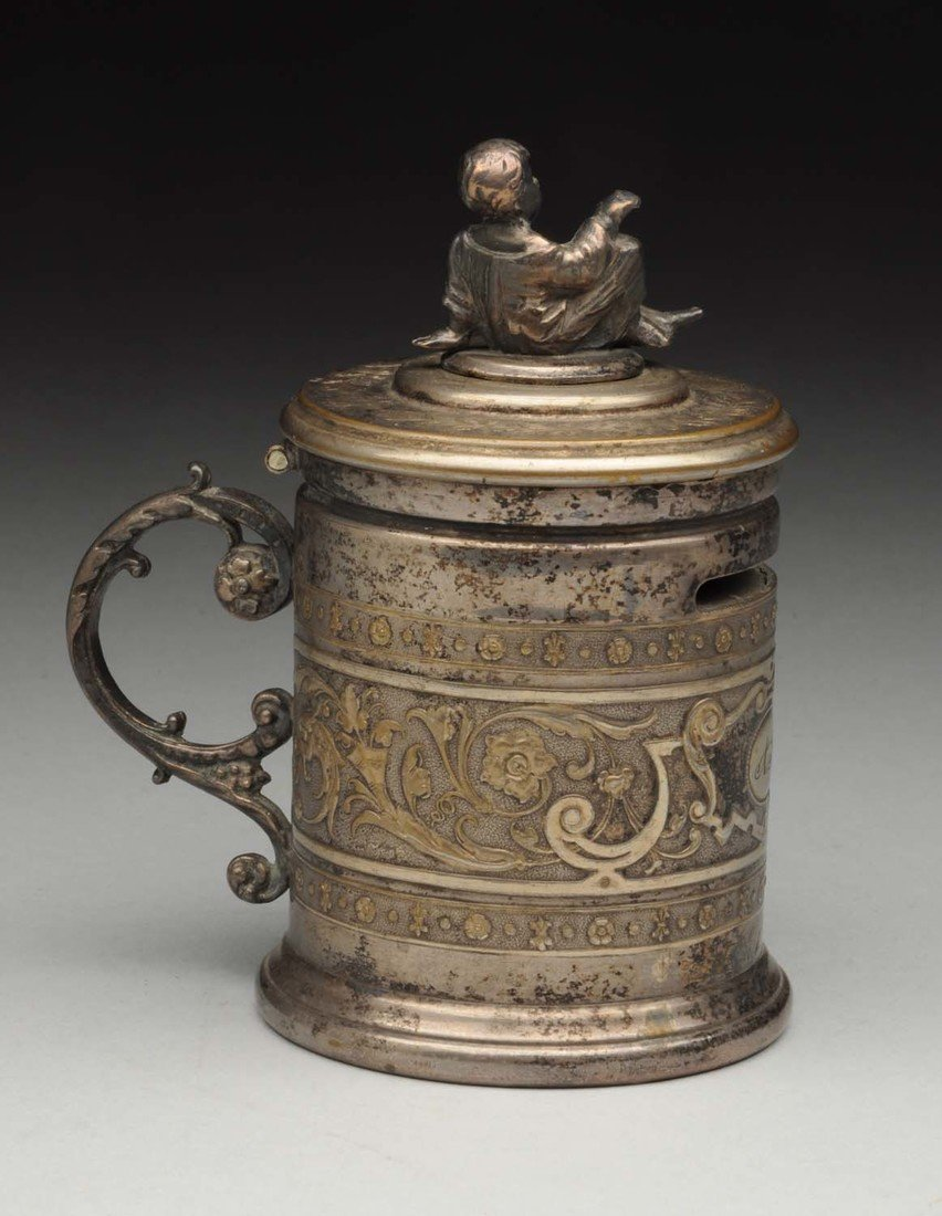 Silver Stein Bank With Lead Figure Of Child On Top - 2