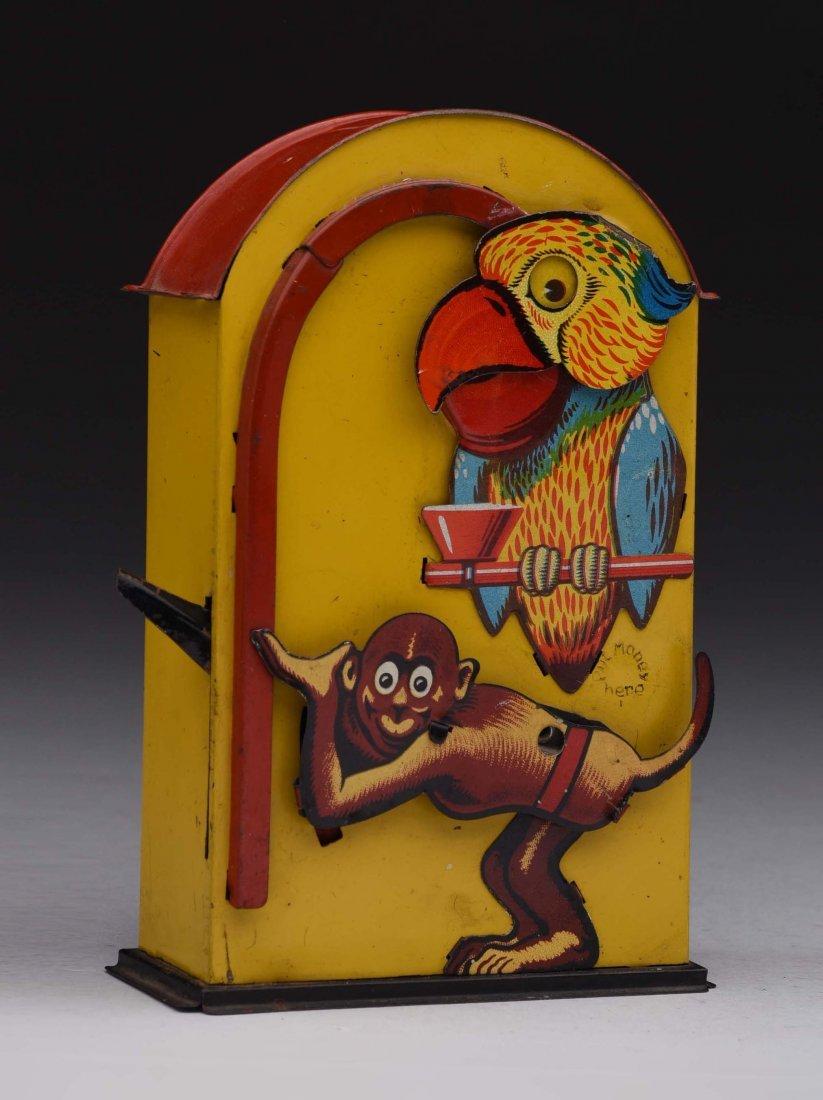 Tin Monkey & Parrot Mechanical Bank.