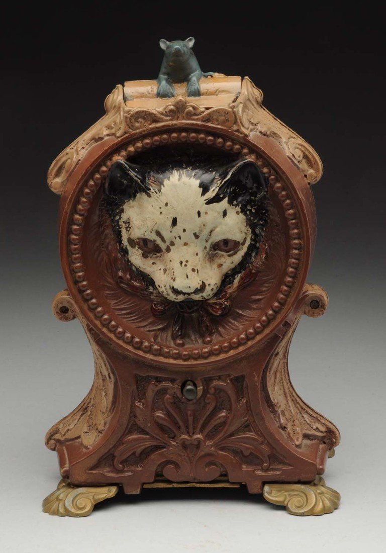 J.&.E.Stevens Cat & Mouse C.I. Mechanical Bank. - 2