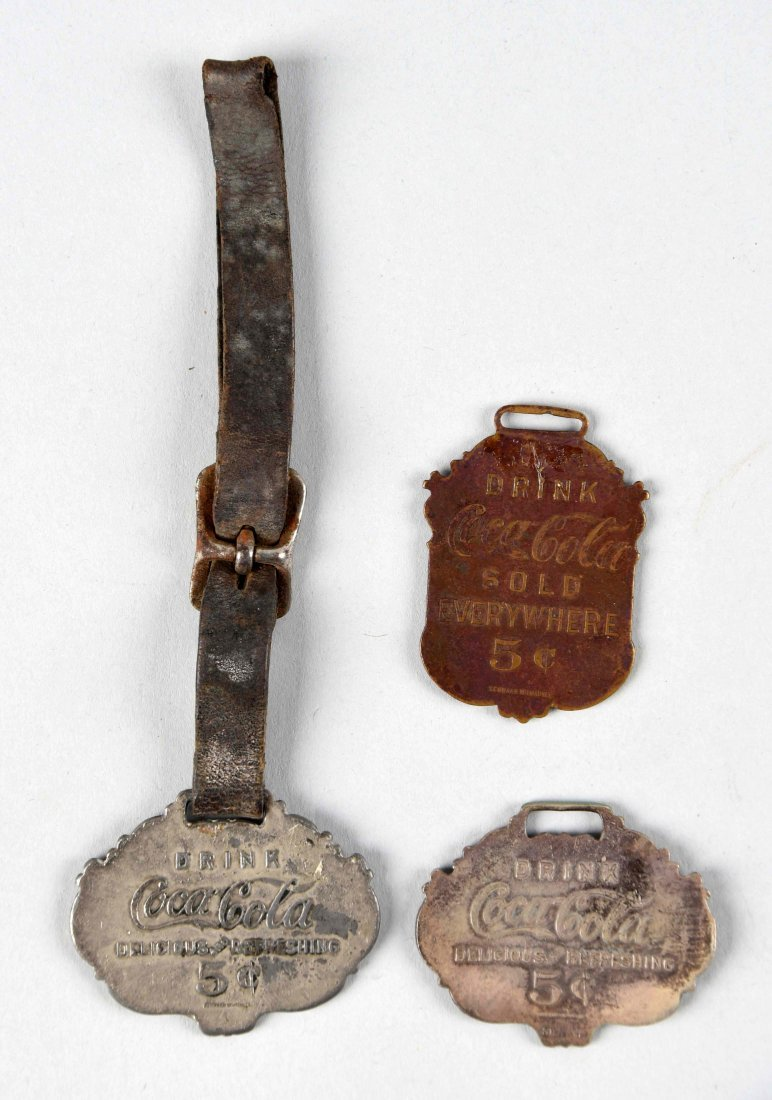 Lot of 3: Early Coca - Cola Watch Fobs.