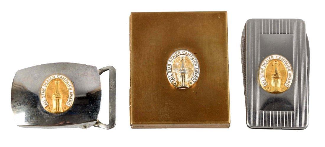 Lot of 3: Coca - Cola Belt Buckle, Money Clip & Picture
