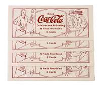 Set of 4 Early Coca  Cola Soda Fountain Ink Blotters