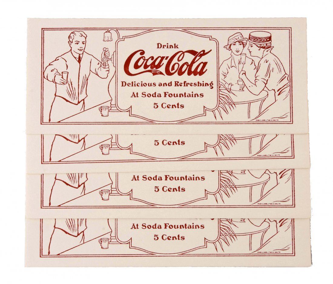 Set of 4: Early Coca - Cola Soda Fountain Ink Blotters.