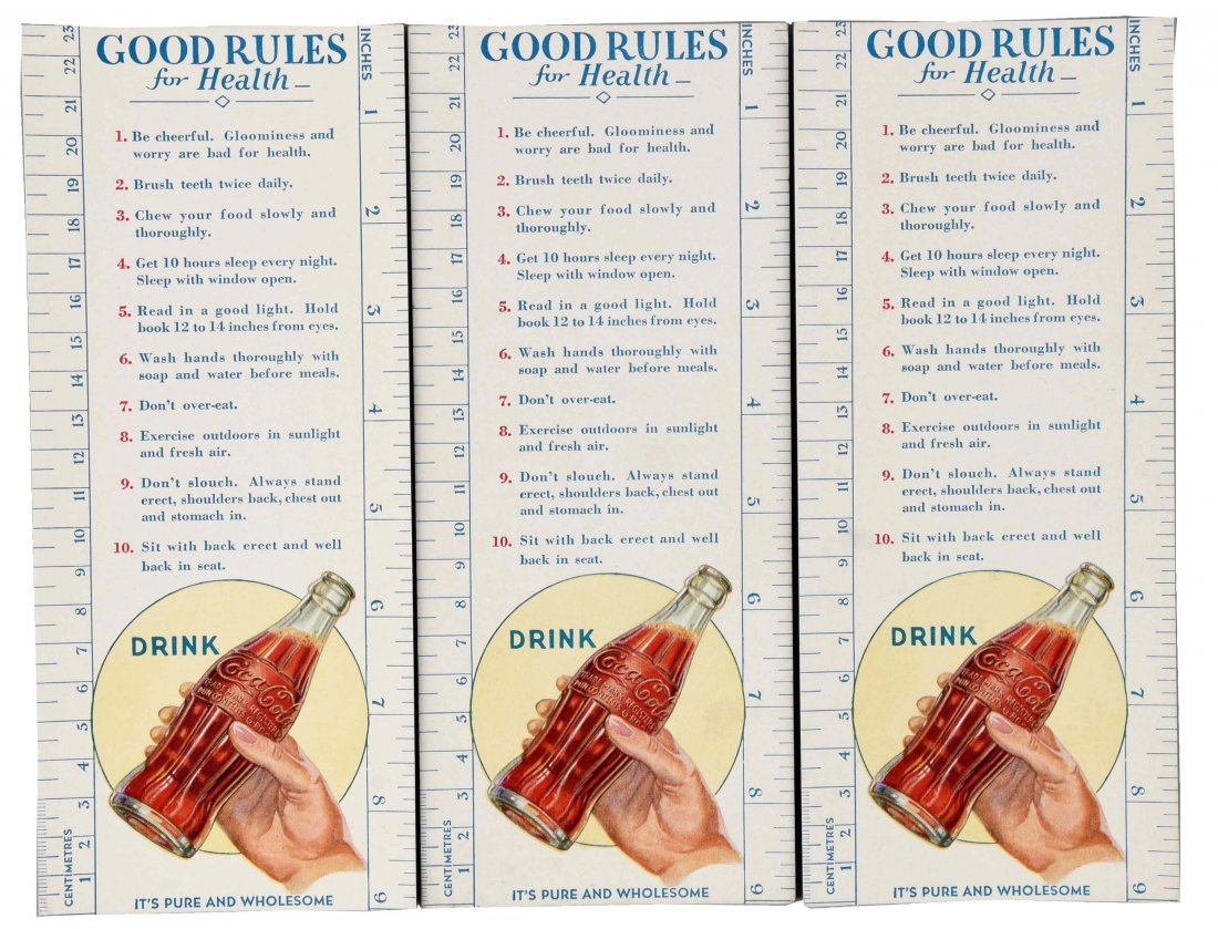 Lot of 3: Coca - Cola Advertising Blotters with Rulers.