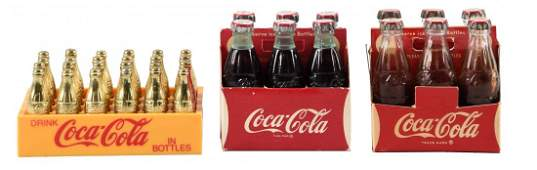 Lot of 3: Coca - Cola Miniature Crates with Bottles.