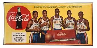 1953 Coca-Cola Globetrotters Paper Sign.