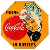 1950's Coca-Cola Sprite Boy Hexagon Shaped Sign.