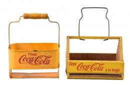 Pair of Coca - Cola Spanish 6-Pack Carriers