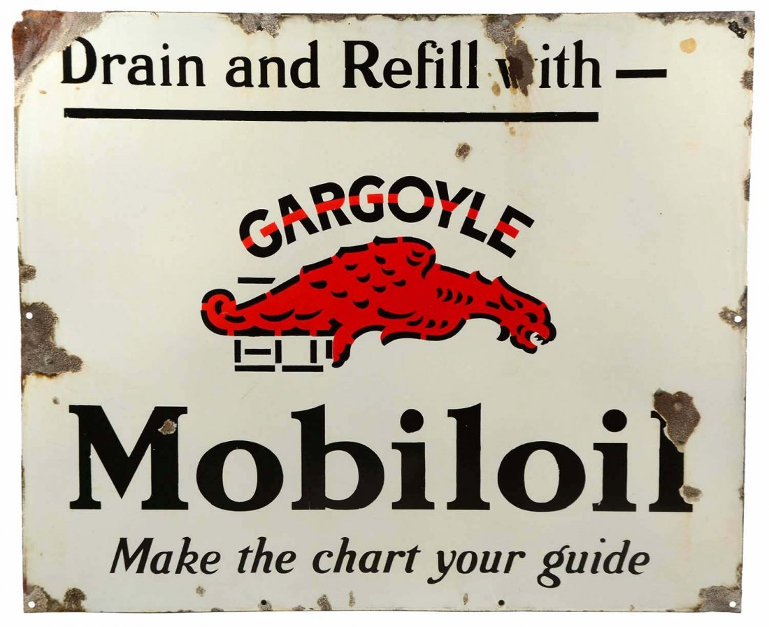 Knowledgeable Mobil Oil 12 Inches Round Vintage Enamel Sign Signs 1930-69