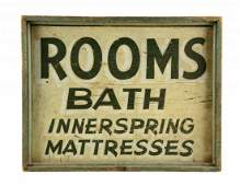 Rooms & Bath Wooden Advertising Sign.