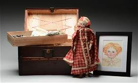 French Fashion Doll With Wood Body, Trunk & Additional
