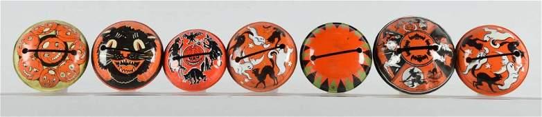 Lot of 7 Vintage Tin Halloween Rattles