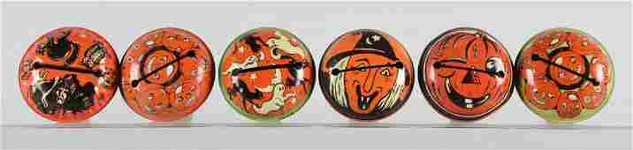 Lot of 6 Vintage Halloween Tin Noise Makers w Wooden