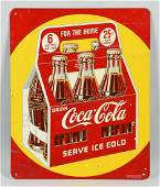 Coca-Cola Advertising Tin Sign w. 6 pack carrier.