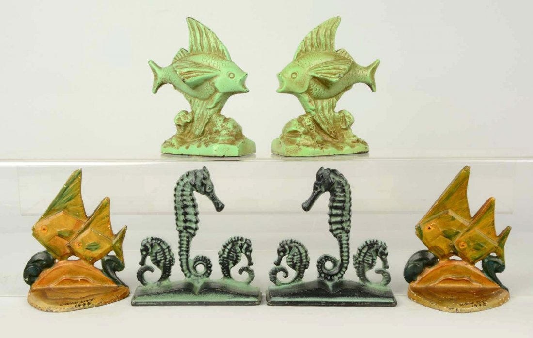 Lot of 3 pairs: Cast Iron Assorted Fish Bookends.