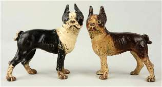 Lot of 2 Cast Iron Boston Terrier Doorstops