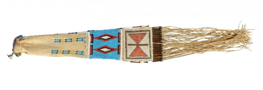 Beautiful Northern Plains Contour Beaded Pipe Bag With