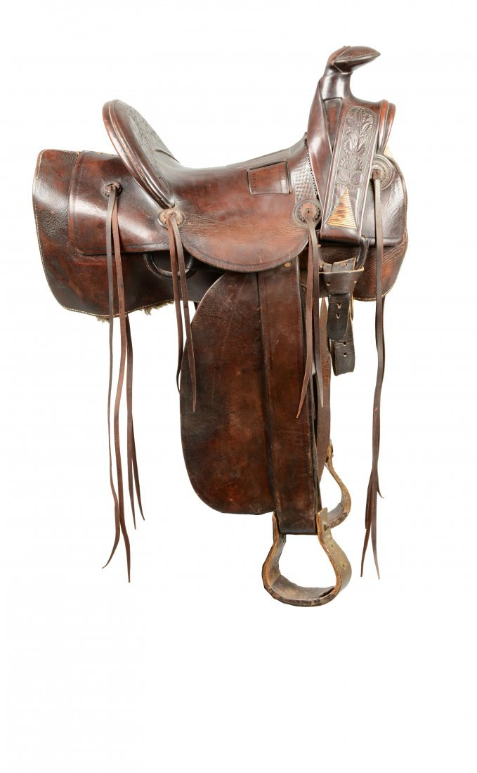 Deep Chestnut Brown Leather Racek Saddle And Stand.