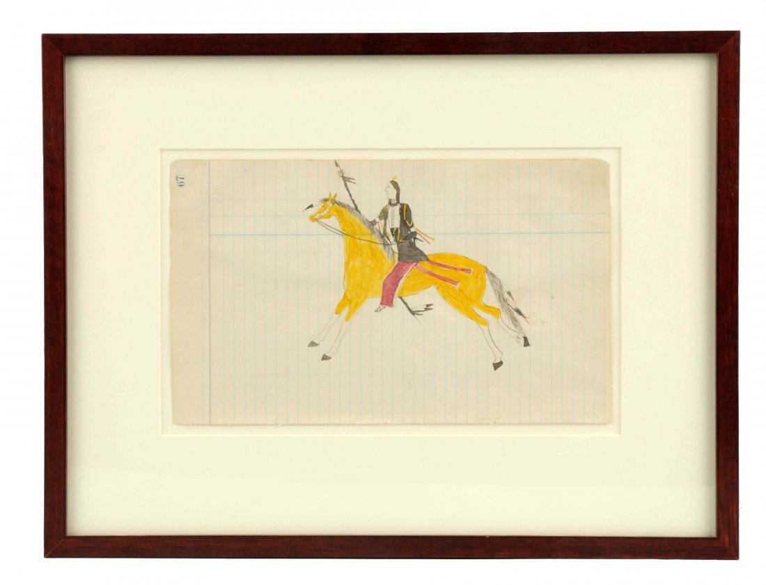 Roan Eagle Ledger Drawing In Frame.