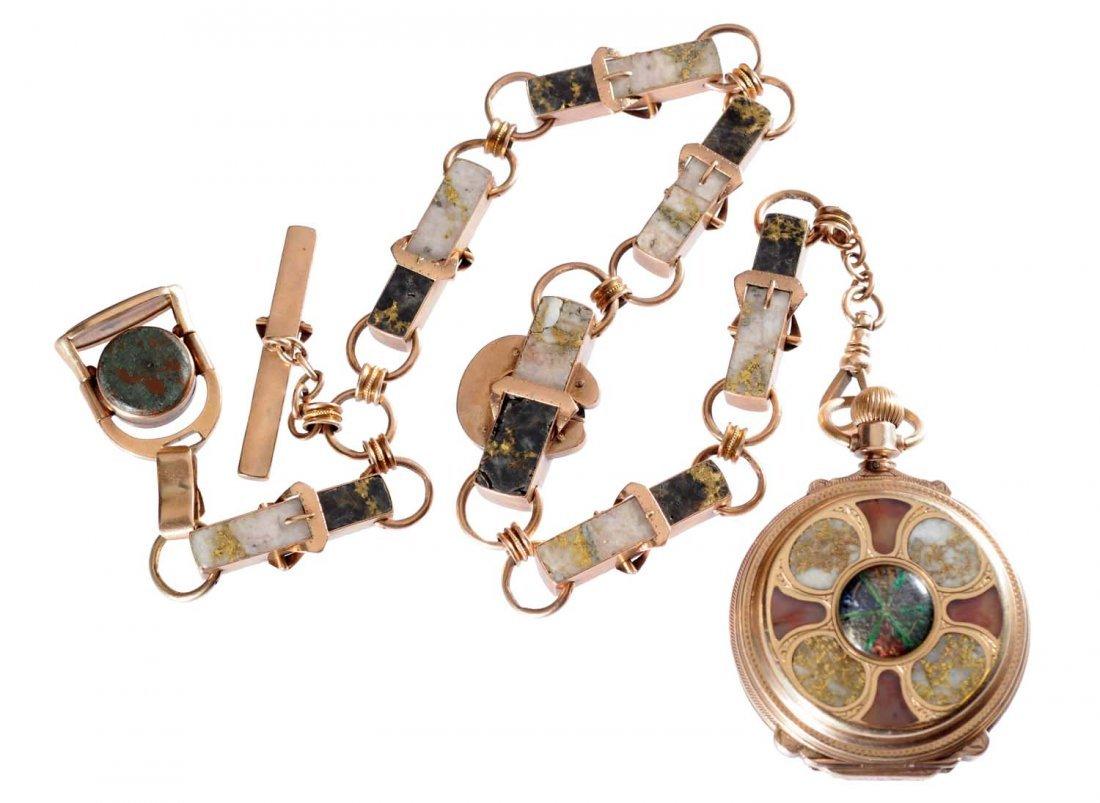 Pocket Watch With Accessories In Gold Quartz.