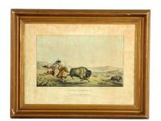 """Peter Rindisbacher """"Hunting The Buffalo"""" Lithograph."""