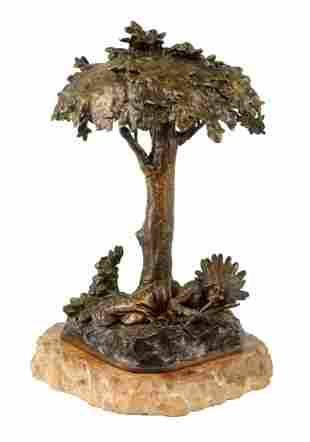 Carl Kauba Indian Bronze Lamp.