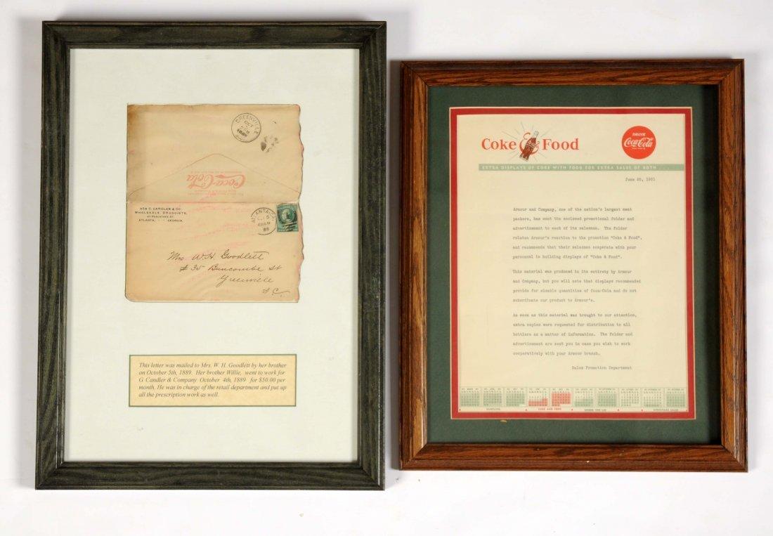 Lot of 2: Framed Coca-Cola Letterhead & Envelope.