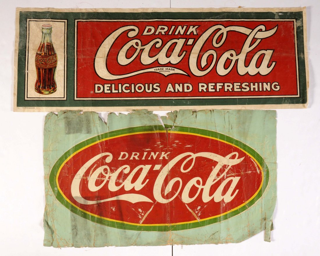 Lot of 5: Early Coca-Cola Banners, Signs & Kite.