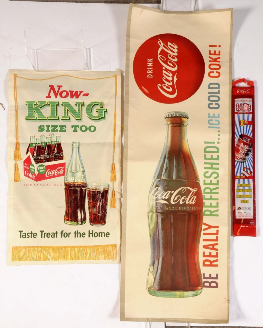 Lot of 5: Early Coca-Cola Banners, Signs & Kite. - 2