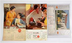 Lot of 3 CocaCola Advertising Calendars