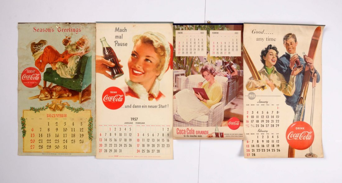 Lot of 4: Coca-Cola Calendars.