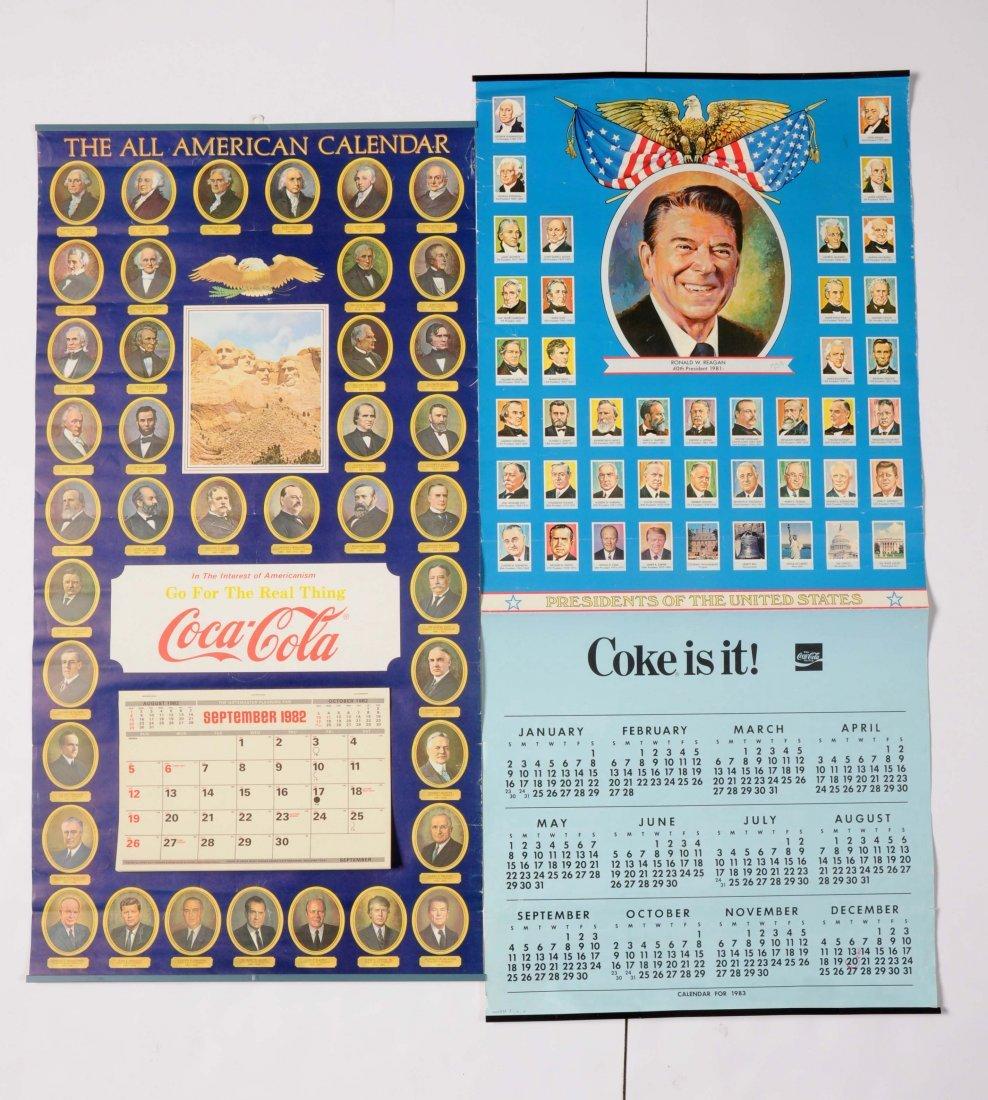 Lot of 2: Coca-Cola Presidential Calendars.