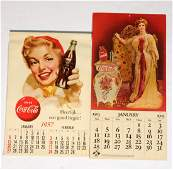 Lot of 2 CocaCola Advertising Calendars