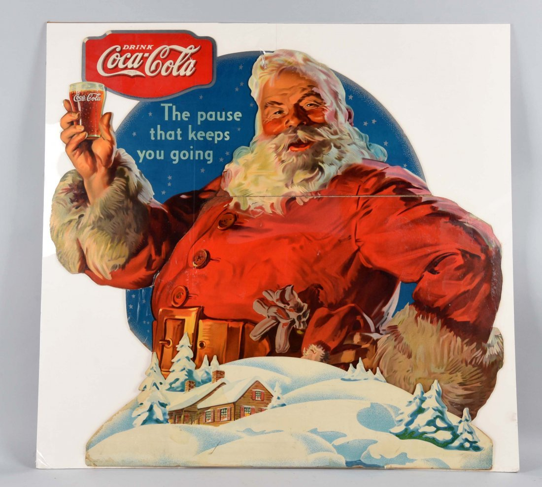 Large Coca-Cola Santa Diecut Advertising Sign.