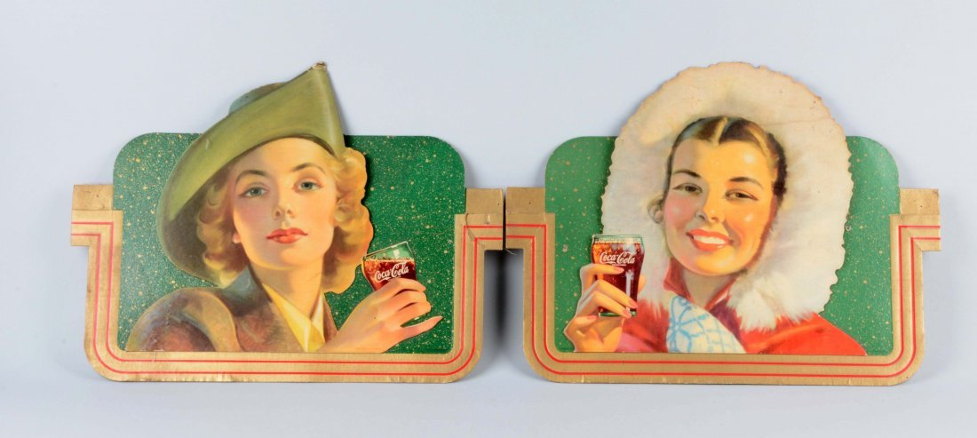 Lot Of 2: 1944 Coca-Cola Diecut Advertising Signs.