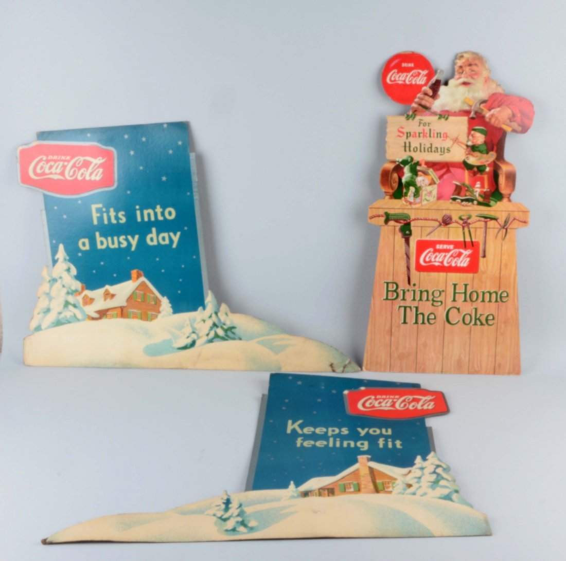 Lot Of 3: Coca-Cola Diecut Advertising Signs.