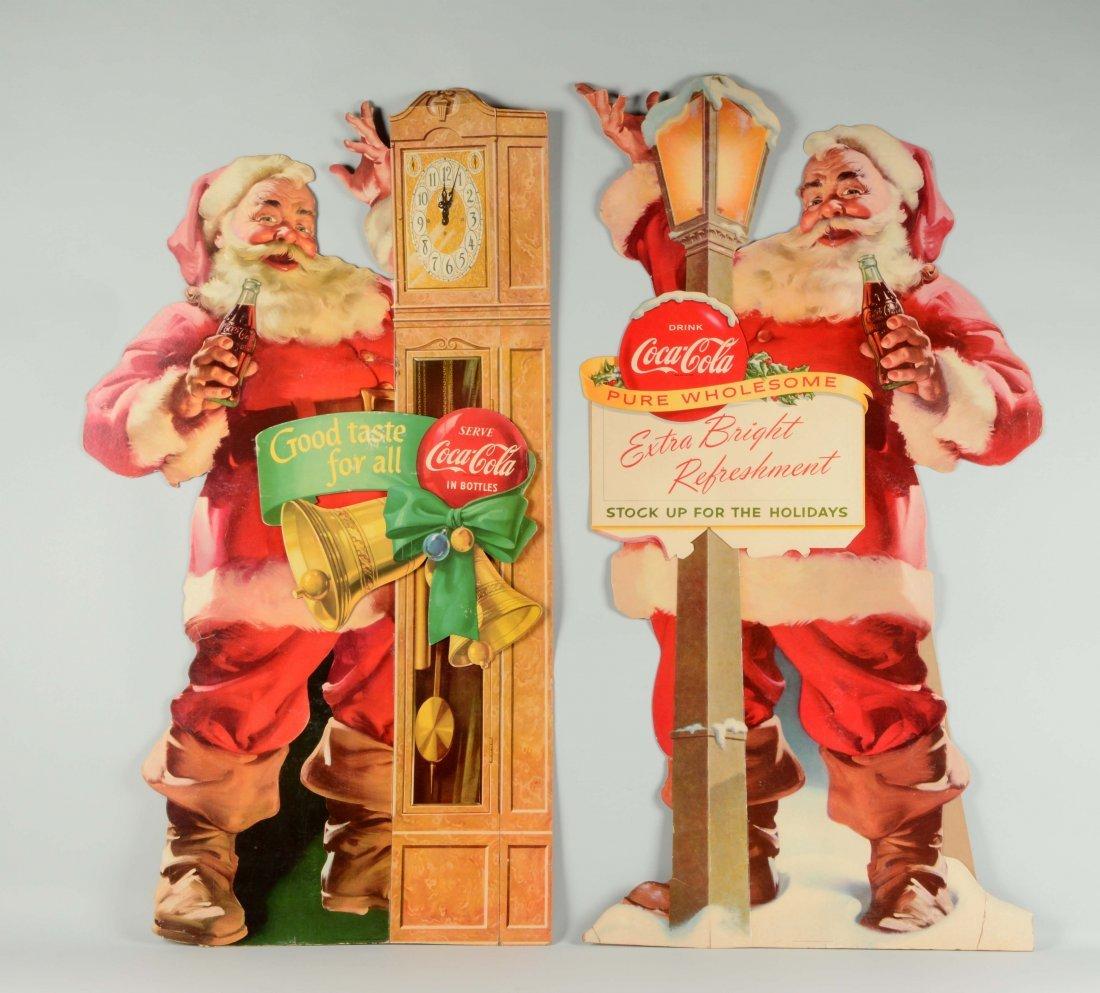 Lot Of 2: Cardboard Coca - Cola Santa Claus Signs.