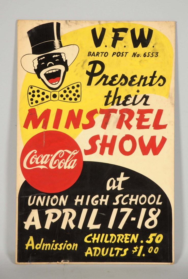 Coca-Cola Cardboard Minstrel Show Advertising Sign.
