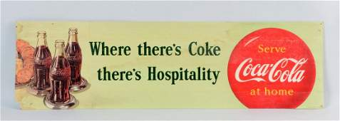 French Canadian Cardboard Coca  Cola Advertising Sign