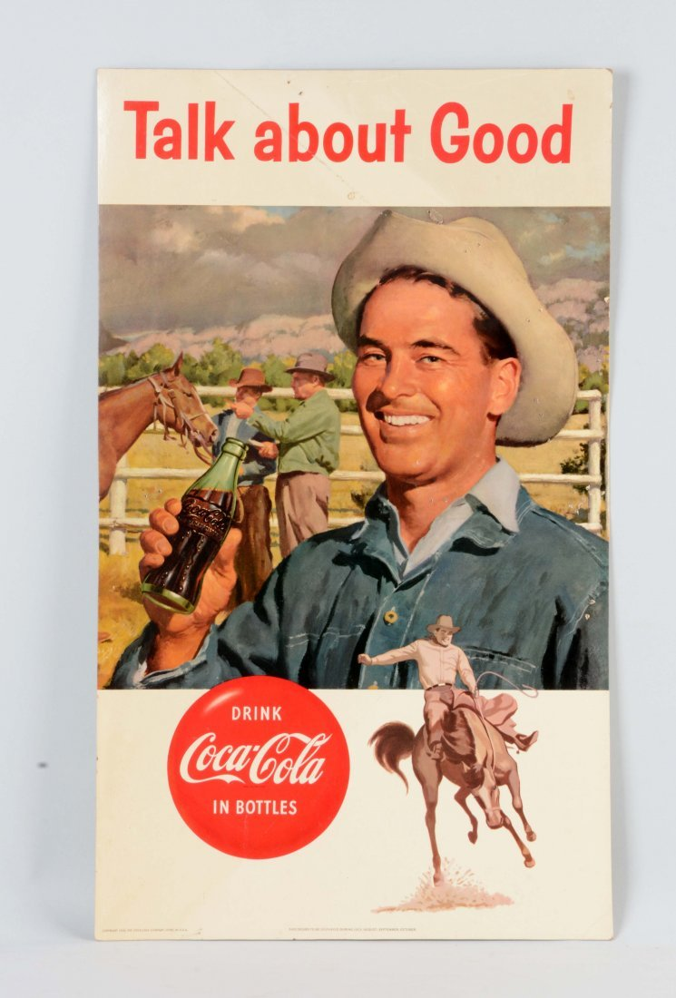 1956 Coca - Cola  Cardboard Advertising Sign.
