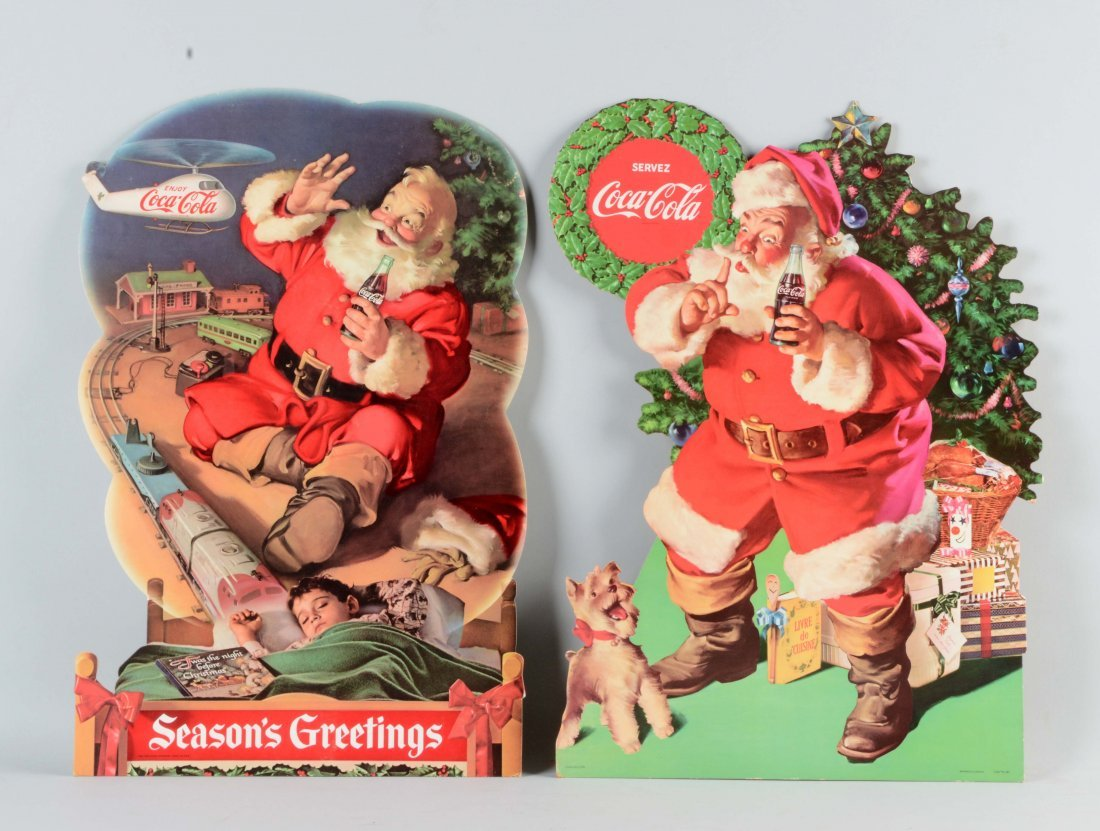 Lot Of 2: Coca - Cola Santa Claus Diecut Advertising