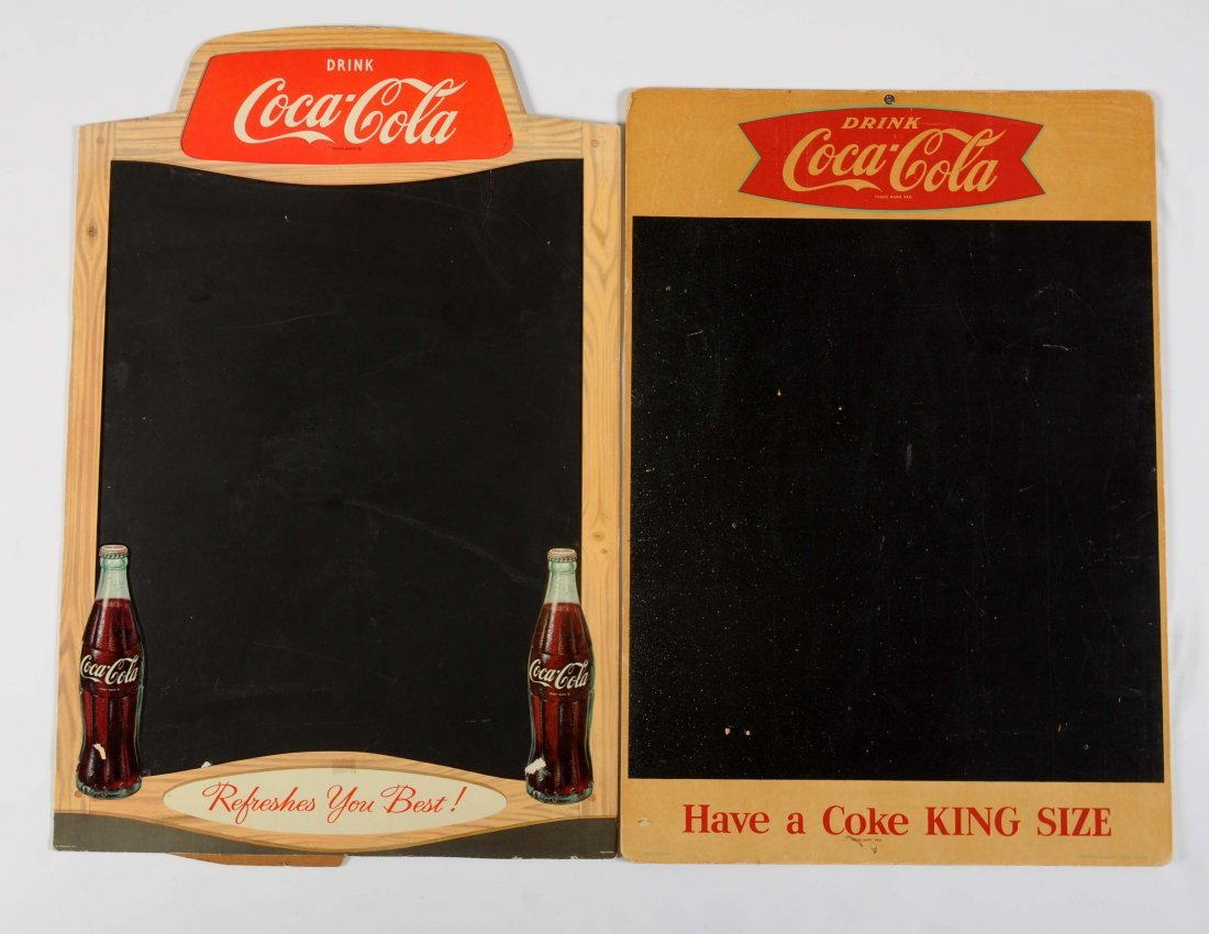 Lot Of 2: Coca-Cola Advertising Cardboard Chalk Boards.