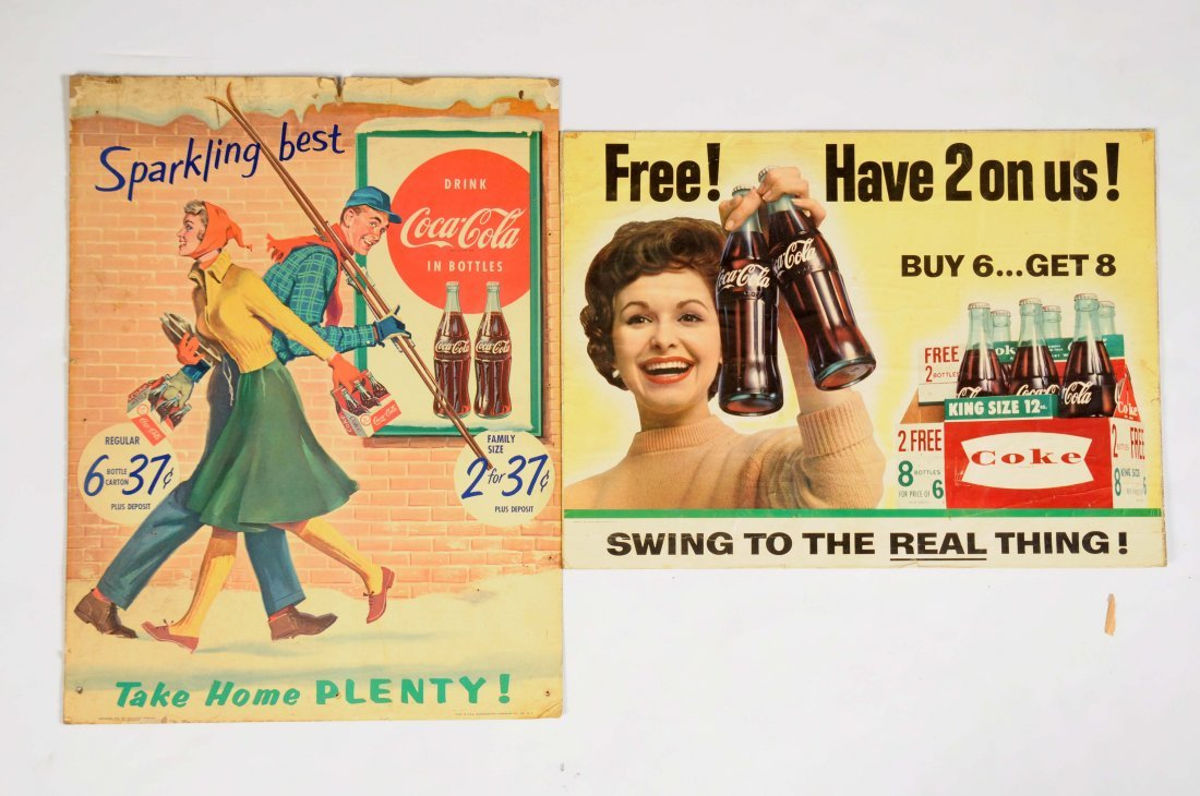 Lot Of 2: Coca-Cola Cardboard Advertising Signs.