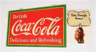 Lot Of 2: Coca-Cola Diecut Cardboard Signs.