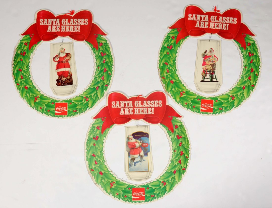 Lot Of 3: Coca - Cola Santa Claus Wreaths.