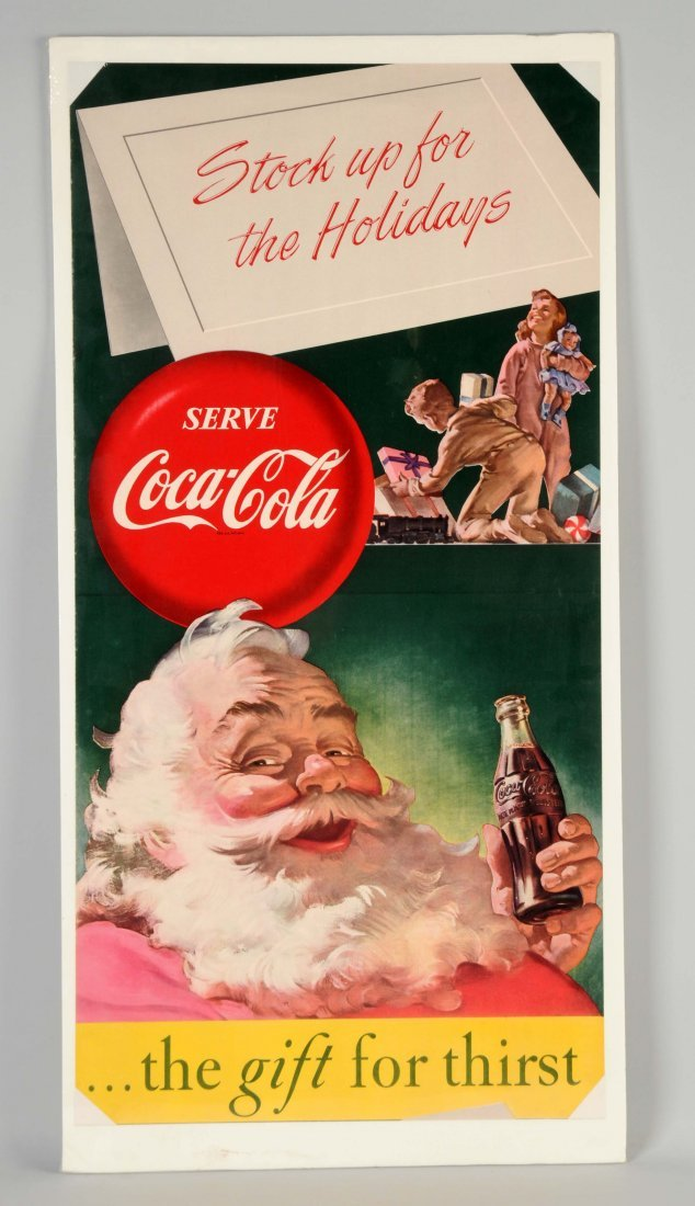 Coca-Cola Santa Paper Advertising Sign.